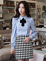 DABUWAWA Women's Going out Work Vintage Simple Cute Fall Winter ShirtSolid Shirt Collar Long Sleeves Polyester Spandex Medium