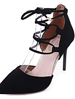 Women's Shoes PU Summer Comfort Heels Stiletto Heel Pointed Toe Lace-up For Casual Dress Blushing Pink Black