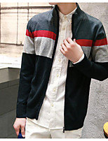 Men's Casual/Daily Regular Cardigan,Color Block Round Neck Long Sleeves Others Fall Medium Micro-elastic