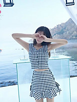 Women's Going out Simple Summer Tank Top Skirt Suits,Plaid/Check U Neck Sleeveless