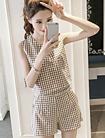 Women's Going out Simple Summer T-shirt Pant Suits,Plaid/Check Round Neck Sleeveless