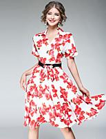 Damen Swing Kleid-Ausgehen Lässig/Alltäglich Street Schick Blumen V-Ausschnitt Knielang Kurzarm Polyester Sommer Hohe Hüfthöhe Unelastisch