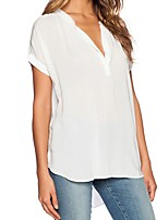 Women's Casual/Daily Simple Summer Shirt,Solid V Neck Short Sleeves Polyester Medium