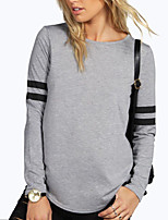 Women's Sports Casual/Daily Street chic Active Spring Fall T-shirtColor Block Round Neck Long Sleeves Polyester Medium