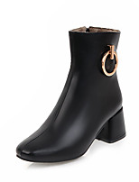 Women's Shoes Leatherette Fall Winter Fashion Boots Boots Chunky Heel Square Toe Booties/Ankle Boots Zipper For Office & Career Dress
