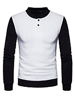Men's Casual/Daily Simple Sweatshirt Solid Color Block Stand Micro-elastic Polyester Long Sleeve Spring Fall
