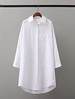Women's Going out Casual/Daily Simple Cute Street chic Spring Fall Shirt,Solid Shirt Collar Long Sleeves Linen Medium