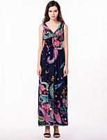 Women's Plus Size Boho Street chic Swing Dress,Print V Neck Maxi Sleeveless Polyester Summer High Rise Micro-elastic Medium