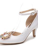 Femme Chaussures Soie Printemps Automne Escarpin Basique Bride de Cheville Chaussures de mariage Talon Cône Bout pointu Strass Cristal