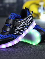 Boys' Shoes Knit Breathable Mesh Tulle Leatherette Fall Winter Light Up Shoes Comfort Light Soles Sneakers Sequin Magic Tape Hook & Loop