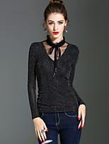 Langærmet Høj krave Medium Damer Ensfarvet Forår Efterår Vintage Gade Sofistikerede Ferie I-byen-tøj T-shirt,Nylon
