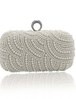 Women Bags All Seasons ABS+PC Evening Bag Beading Buttons Pockets for Event/Party Outdoor White
