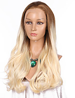 Women Synthetic Wig Lace Front Very Long Wavy Strawberry Blonde/Bleach Blonde Ombre Hair Natural Hairline Lolita Wig Party Wig Halloween