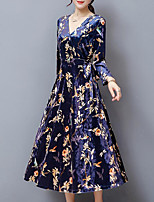Women's Plus Size Going out Simple Sheath Dress,Floral V Neck Maxi Long Sleeves Velvet Fall Mid Rise Inelastic Medium
