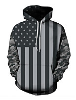 Men's Plus Size Plus Size Casual/Daily Vintage Active Boho Punk & Gothic Hoodie Camouflage Stripe Hooded Micro-elastic Cotton Polyester