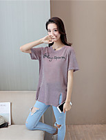 Women's Going out Simple Street chic Summer T-shirt,Letter Round Neck Short Sleeves Others Thin