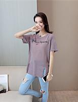 T-shirt Da donna Per uscire Semplice Moda città Estate,Alfabetico Rotonda Altro Manica corta Sottile