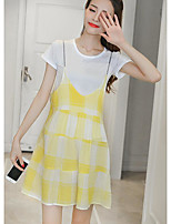 Women's Going out Vintage Summer T-shirt Skirt Suits,Lines / Waves Round Neck Short Sleeve