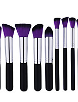 10Pcs Black And Silver Makeup Brush Purple And Black Brush Head