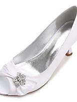 Da donna Scarpe Raso Primavera Estate Comoda Decolleté scarpe da sposa Basso Kitten A stiletto A cono Punta aperta Punta tonda Con