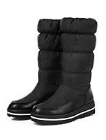 Feminino Sapatos Couro Ecológico Outono Inverno Conforto Inovador Botas da Moda Botas Rasteiro Ponta Redonda Botas Cano Médio Para Social