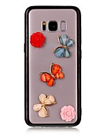 For Case Cover Transparent Back Cover Case Butterfly Flower 3D Cartoon Hard Acrylic for Samsung Galaxy S8 Plus S8 S7 edge S7