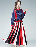 EWUS Women's Going out Casual/Daily Street chic Fall Shirt Skirt Suits,Striped Color Block Shirt Collar Long Sleeve Peplum Inelastic