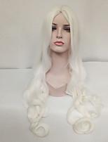 Donna Parrucche sintetiche Senza tappo Lungo Ondulati Bianco Riga al centro Parrucca Cosplay Parrucca per travestimenti