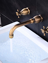 Widespread Widespread with  Brass Valve Two Handles Three Holes for  Antique Copper , Bathroom Sink Faucet