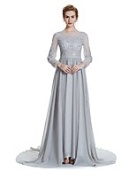 A-Line / Princess Mother of the Bride Dress - Sparkle & Shine Elegant Court Train 3/4 Length Sleeves Chiffon withBeading Crystal