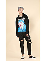 Men's Going out Casual/Daily Vintage Street chic Punk & Gothic Hoodie Print Oversized Hooded Micro-elastic Cotton Long Sleeve Spring Fall