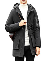 Men's Regular Padded Coat,Simple Casual/Daily Solid-Polyester Polyester Long Sleeves
