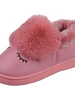 Girls' Shoes PU Velvet Winter Fur Lining Fluff Lining Comfort First Walkers Slippers & Flip-Flops Pom-pom For Casual Light Pink Green Red