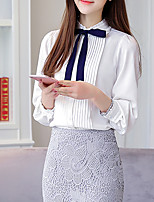 Women's Going out Casual/Daily Simple Winter Shirt,Solid Round Neck Long Sleeves Silk Cotton