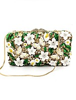 Women Bags All Seasons Metal Evening Bag Appliques Crystal Detailing for Wedding Event/Party Army Green