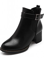 Femme Chaussures Similicuir Automne Hiver Confort Nouveauté Botillons Bottes Gros Talon Bout rond Bottine/Demi Botte Boucle Pour