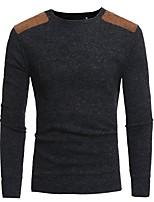 Недорогие -Для мужчин Повседневные На каждый день Обычный Пуловер Однотонный,Круглый вырез Длинный рукав Полиэстер Японскийхлопок Зима Осень Тонкая