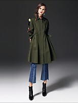 FRMZ Women's Going out Casual/Daily Street chic Fall Winter Trench Coat,Solid Shirt Collar Long Sleeve Long Cotton Others