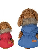Dog Coat Dog Clothes Casual/Daily Solid Red Blue