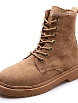 Для женщин Обувь Замша Осень Армейские ботинки Ботинки На толстом каблуке Круглый носок Шнуровка Назначение Повседневные Черный Пурпурный