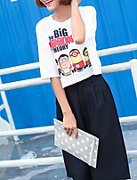 Women's Going out Cute T-shirt,Animal Print Letter Round Neck Half Sleeves Cotton