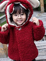 Girls' Solid Patchwork Down & Cotton Padded,Polyester Lamb Fur Fall Winter Long Sleeve