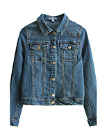 Women's Going out Casual/Daily Simple Vintage Spring Fall Denim Jacket,Solid Shirt Collar Long Sleeve Regular Others