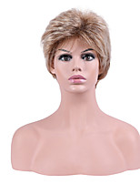 Women Synthetic Wig Capless Short Straight Brown Ombre Hair Natural Hairline Pixie Cut Layered Haircut Party Wig Natural Wigs Costume Wig