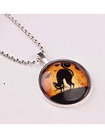 Women's Pendant Necklaces Circle Cat Alloy Animal Design Jewelry For Halloween Gift