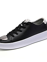 Men's Shoes Leatherette Fall Winter Comfort Sneakers Metallic Toe Lace-up For Athletic Casual Black White