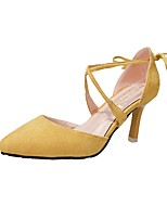 Women's Shoes Cashmere Summer Comfort Heels Stiletto Heel Pointed Toe For Casual Green Yellow Beige Black