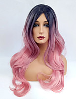 Women Synthetic Wig Capless Long Wavy Pink Ombre Hair Dark Roots Middle Part Cosplay Wig Costume Wig