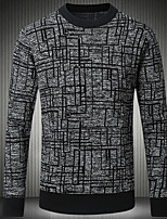 Men's Casual/Daily Regular Pullover,Print Round Neck Long Sleeves Cotton Winter Medium Micro-elastic