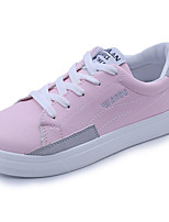 Women's Shoes PU Spring Fall Comfort Light Soles Sneakers Flat Heel Round Toe Lace-up For Casual Blushing Pink Black White